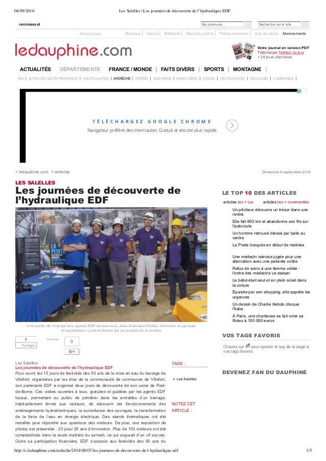 04/09/2016 Les Salelles | Les journées de découverte de l'hydraulique EDF http://c.ledauphine.com/ardeche/2014/08/07/les-j...