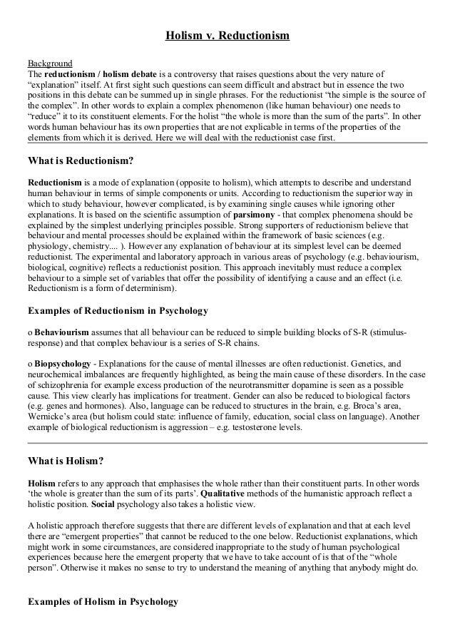 Holism Vs Reductionism Essay Examples - image 7