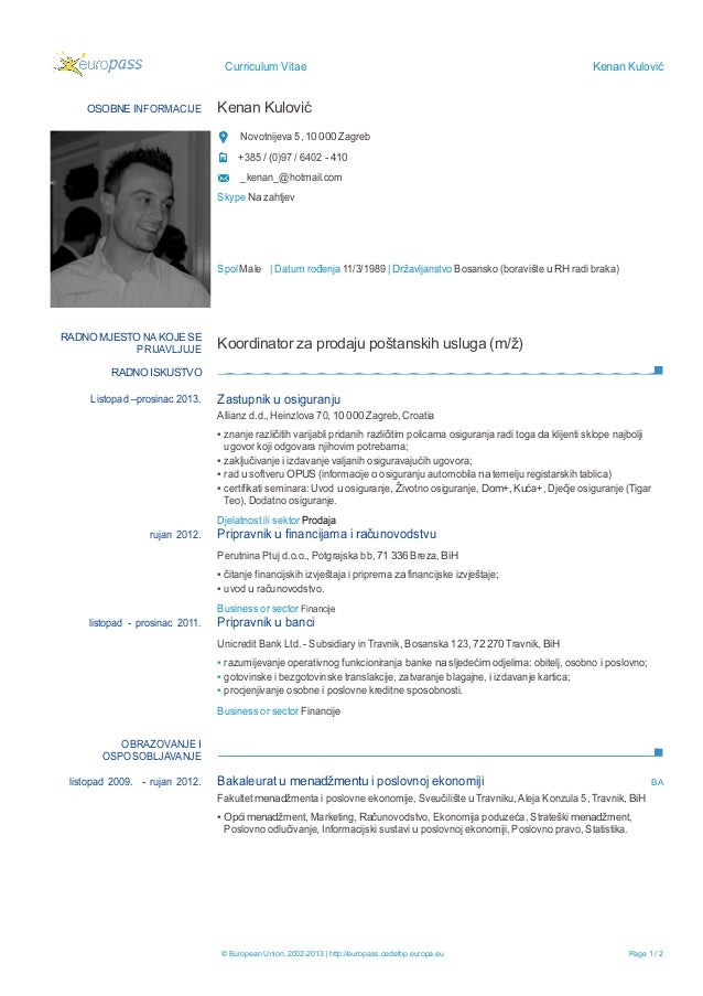 curriculum vitae bosanski