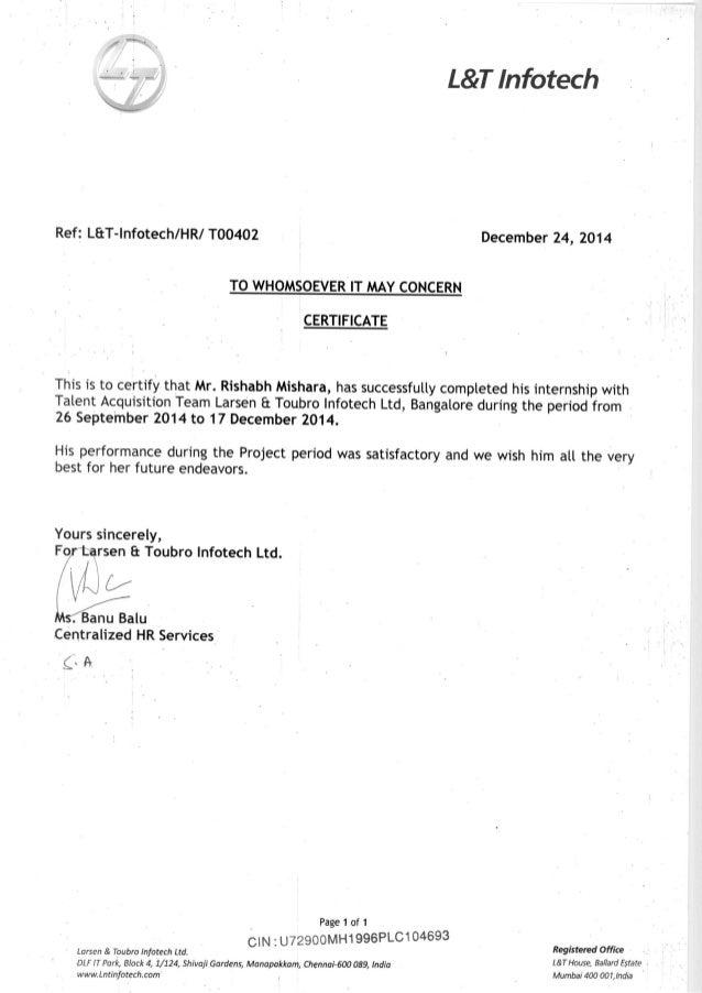 LnT Internship Certificate