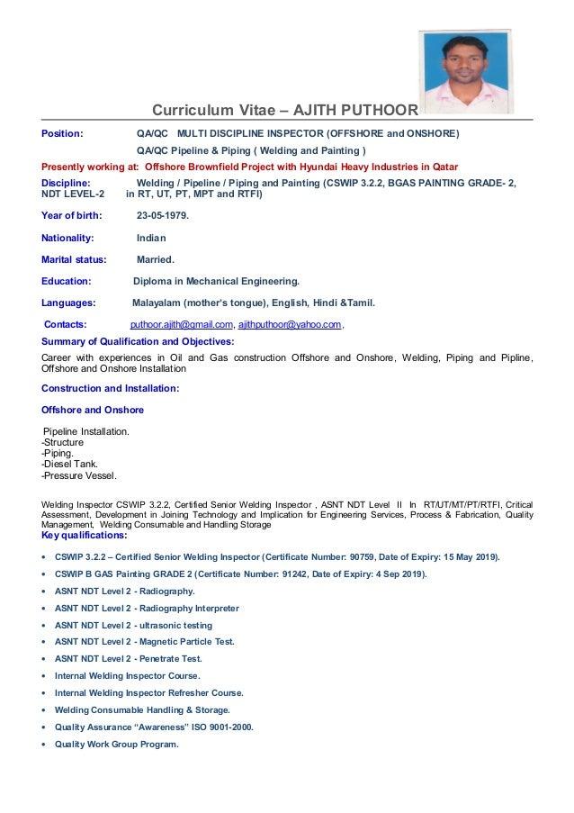 Curriculum Vitae Qa Qc Contoh Dokumen