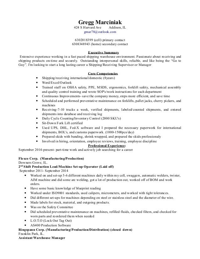 Shipping And Receiving Manager Resume Under Fontanacountryinn Com