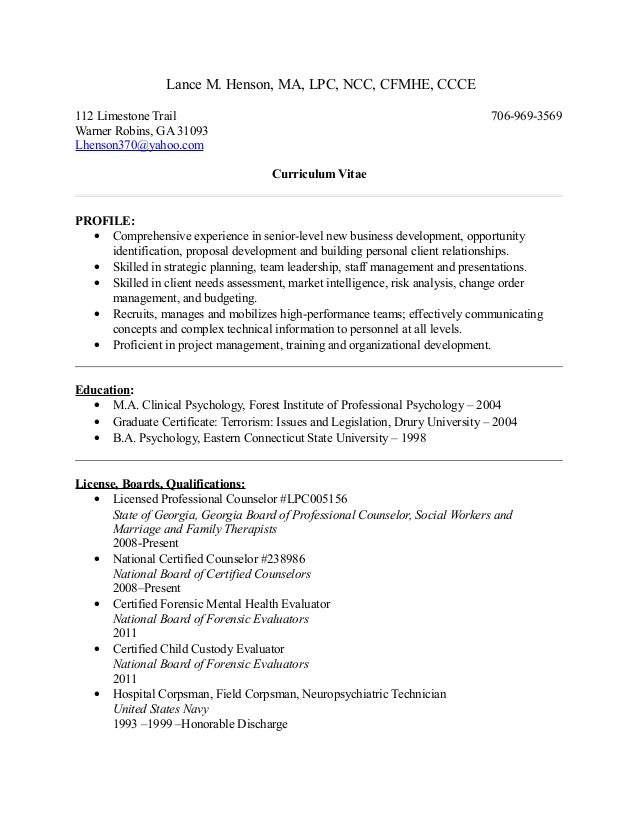Curriculum Vitae Lance Henson