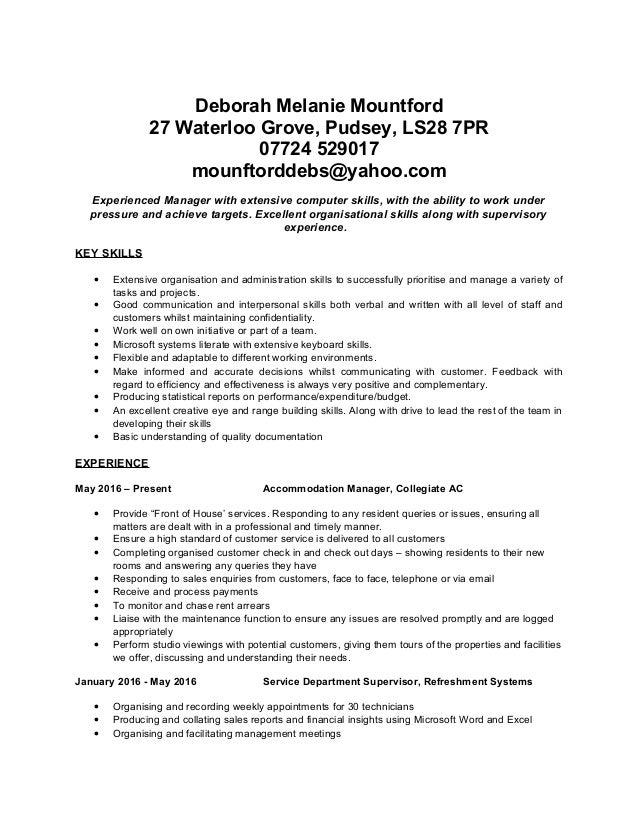 Deborah Melanie Mountford 27 Waterloo Grove, Pudsey, LS28 7PR 07724 529017 mounftorddebs@yahoo.com Experienced Manager wit...