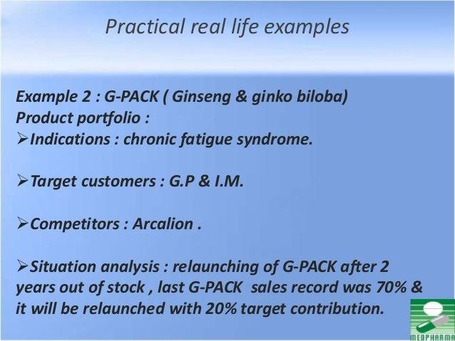 Practical real life examples Example 2 : G-PACK ( Ginseng & ginko biloba) Product portfolio : Indications : chronic fatig...
