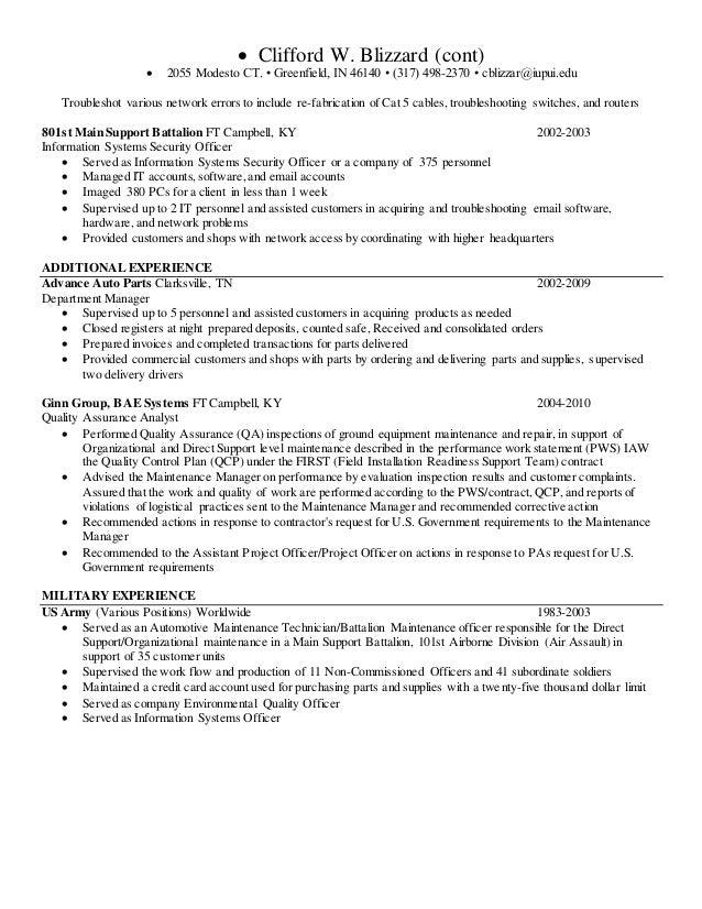 Clifford Blizzard Iupui Resume