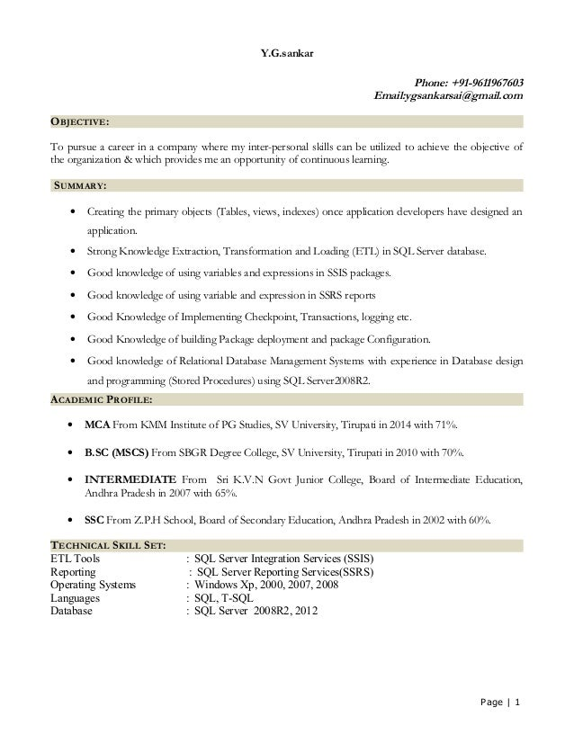 Fancy Sql Developer Resume For Fresher Mold Example
