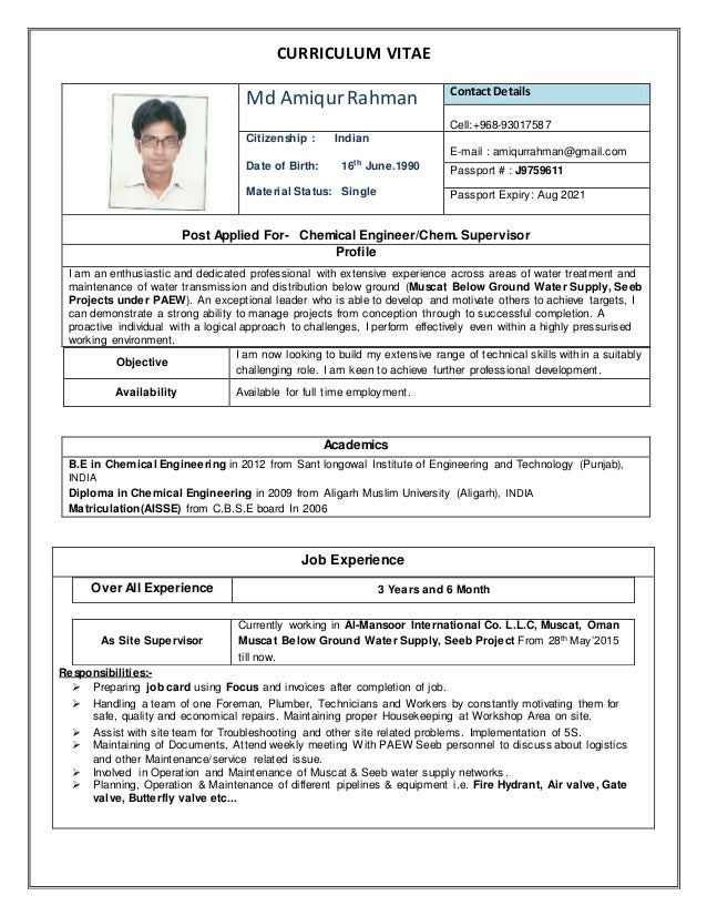 CURRICULUM VITAE Md AmiqurRahman Contact Details Cell:+968-93017587 Citizenship : Indian Date of Birth: 16th June.1990 Mat...