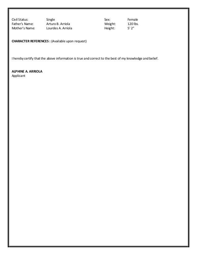 Resume Character Reference Available Upon Request