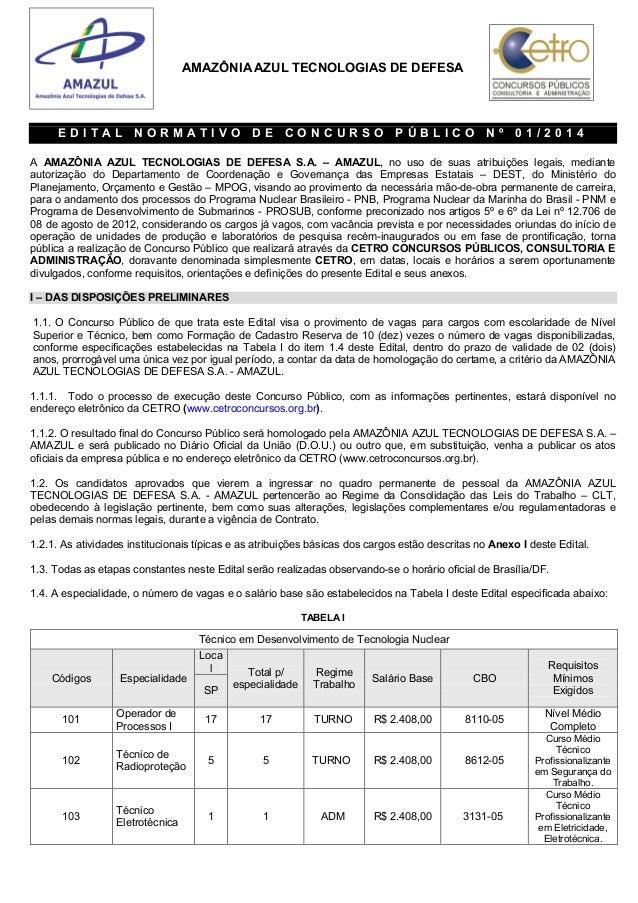 AMAZÔNIA AZUL TECNOLOGIAS DE DEFESA E D I T A L N O R M A T I V O D E C O N C U R S O P Ú B L I C O N º 0 1 / 2 0 1 4 A AM...