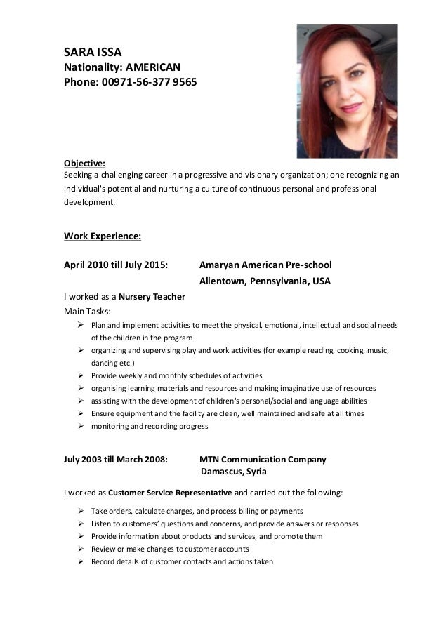 SARA ISSA Nationality: AMERICAN Phone: 00971-56-377 9565 Objective: Seeking a challenging career in a progressive and visi...