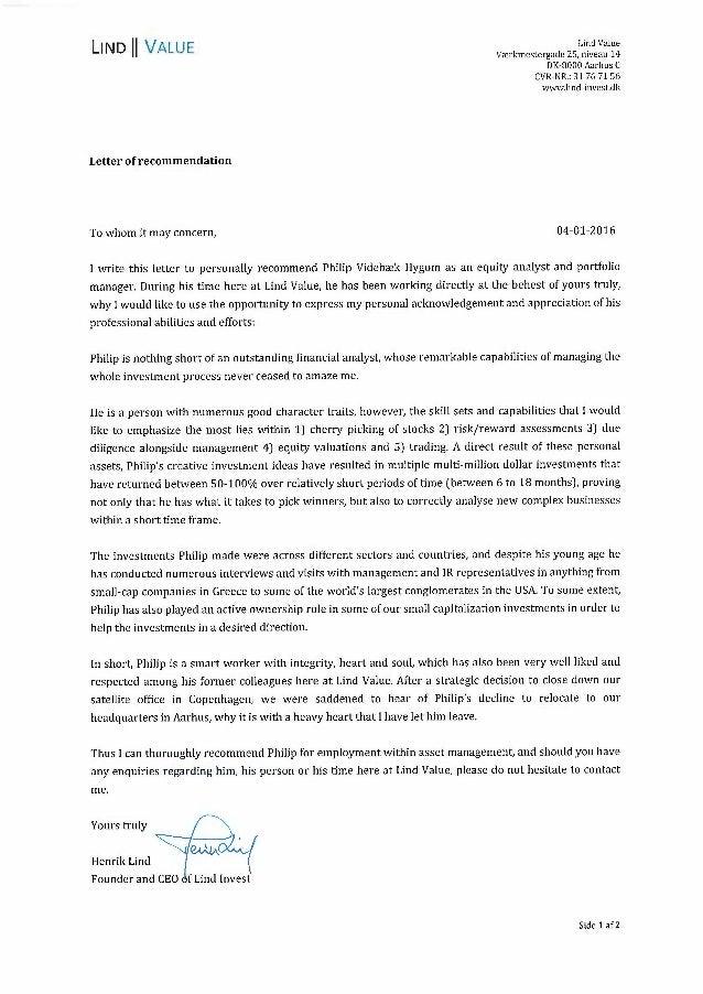 letter of recommendation henrik lind