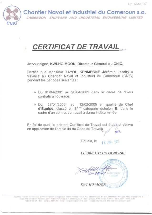 MODELE DE CERTIFICAT DE TRAVAIL A TELECHARGER - Jocuricucaii
