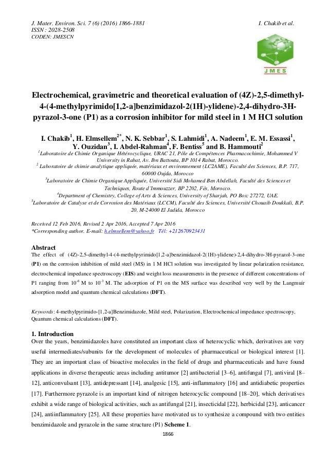 J. Mater. Environ. Sci. 7 (6) (2016) 1866-1881 I. Chakib et al. ISSN : 2028-2508 CODEN: JMESCN 1866 Electrochemical, gravi...