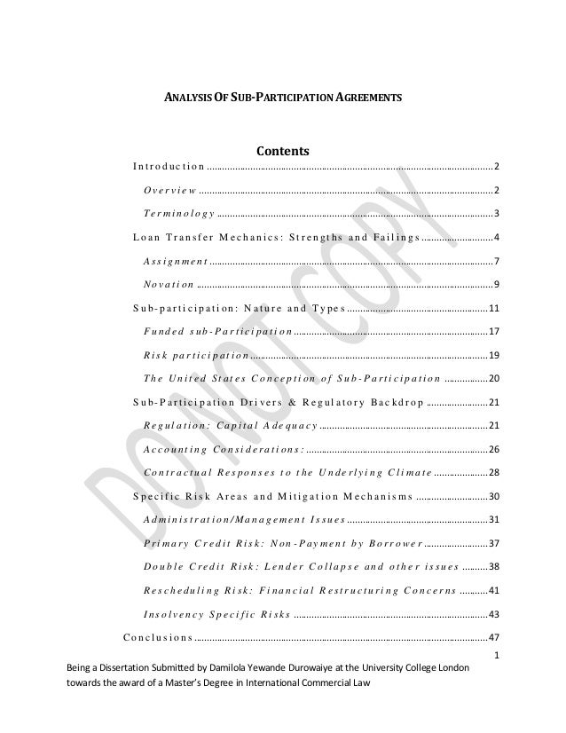 Analysis Of Sub Participation Agreements Damilola Ben Omotehinse