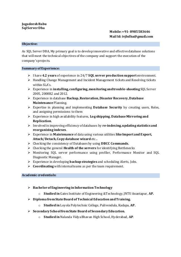 dba resume 28 images oracle dba fresher resume doc