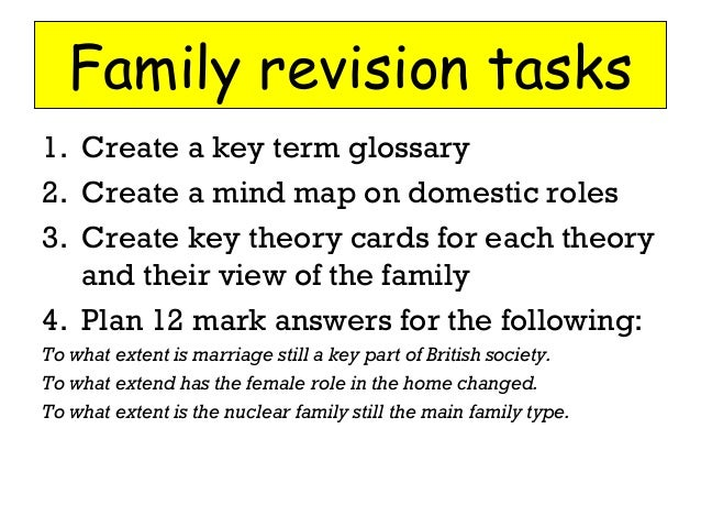 Family revision tasks 1. Create a key term glossary 2. Create a mind map on domestic roles 3. Create key theory cards for ...