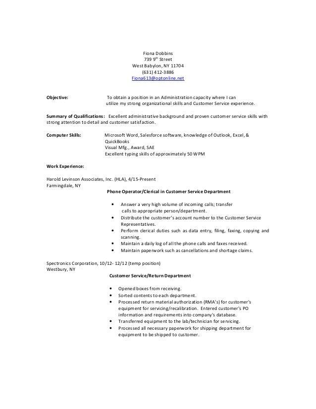 Fiona Dobbins 739 9th Street West Babylon, NY 11704 (631) 412-3886 Fiona613@optonline.net Objective: To obtain a position ...