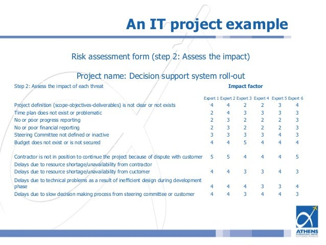 ... 26. An IT Project Example Risk Assessment ...