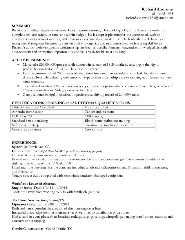stay at home dad resume