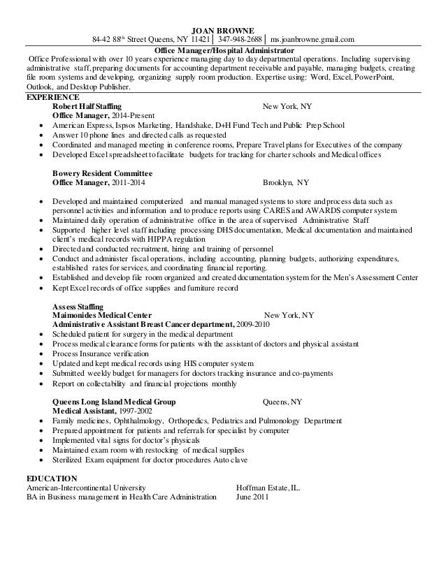 Robert Half Resume For Joan Browne