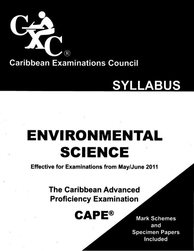 ENVIRONMENTALSGIENGEEffectivefor Examinationsfrom May/June2011TheCaribbeanAdvancedProficiencyExaminationGAPE@