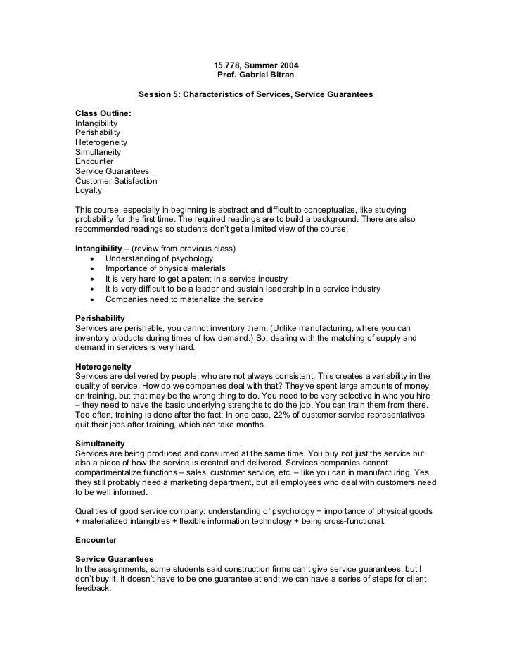 15.778, Summer 2004                                       Prof. Gabriel Bitran                 Session 5: Characteristics ...