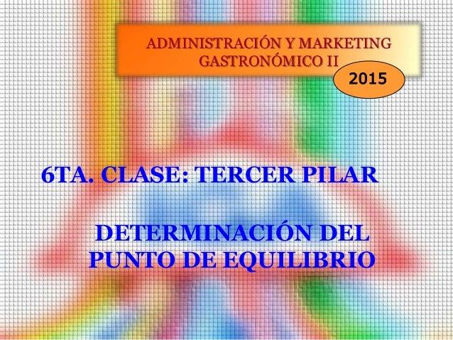 6TA. CLASE: TERCER PILAR ADMINISTRACIÓN Y MARKETING GASTRONÓMICO II 2015 DETERMINACIÓN DEL PUNTO DE EQUILIBRIO