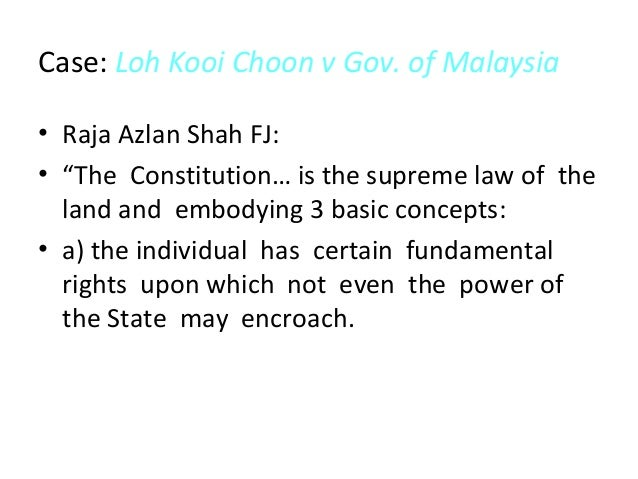 """constitutional supremacy in malaysia The effort to deny sabah and sarawak rights permeates to all levels especially from those who come from malaya chief justice of malaysia tun arifin bin zakaria, in a book launching, """"the constitutional rights of sabah and sarawak"""" which was written by a sabah-based lawyer sukumaran venugopal of the sabah law association said, """"the cobbold."""