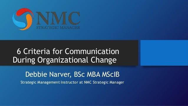 6 Criteria for Communication During Organizational Change Debbie Narver, BSc MBA MScIB Strategic Management Instructor at ...