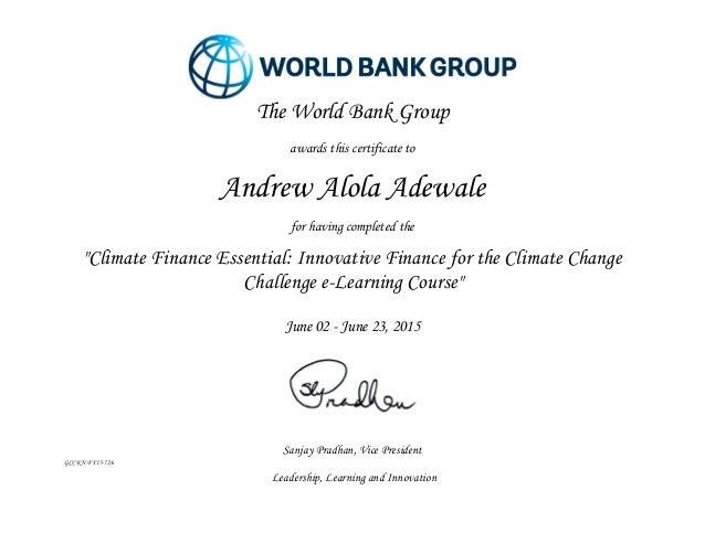 World Bank Climate Finance Certificate