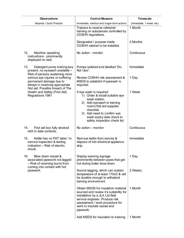 nebosh candidates observation sheet International generalcertificate candidate's observation sheet igc3 – the health and safety practical applicat.