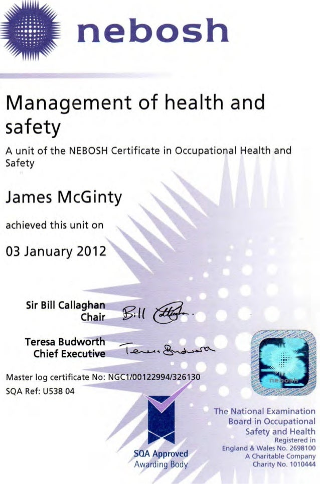 J Mcgintynebosh Certificate In Occupational Health Safety