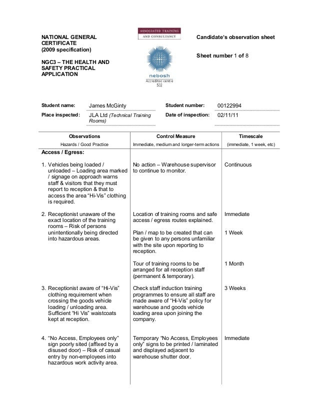 nebosh igc 3 example observation sheets Documents similar to nebosh igc-3 observation sheet (00218445) final igc 3  practical  nebosh igc 3 practical assessment sample how to pass nebosh igc3 it  is.