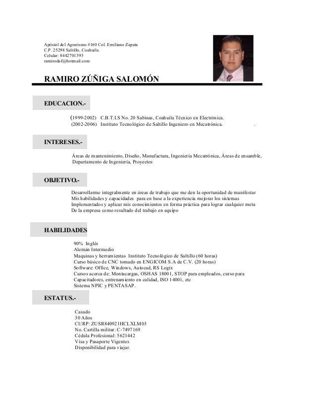 Apóstol del Agrarismo #160 Col. Emiliano Zapata C.P. 25298 Saltillo, Coahuila. Celular: 8442701395 ramirodaf@hotmail.com R...