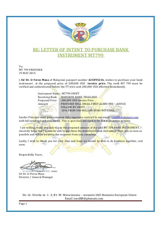200K LETTER OF CONFIRM MT799 PAYMENT 2 – Letter of Intent to Do Business Together