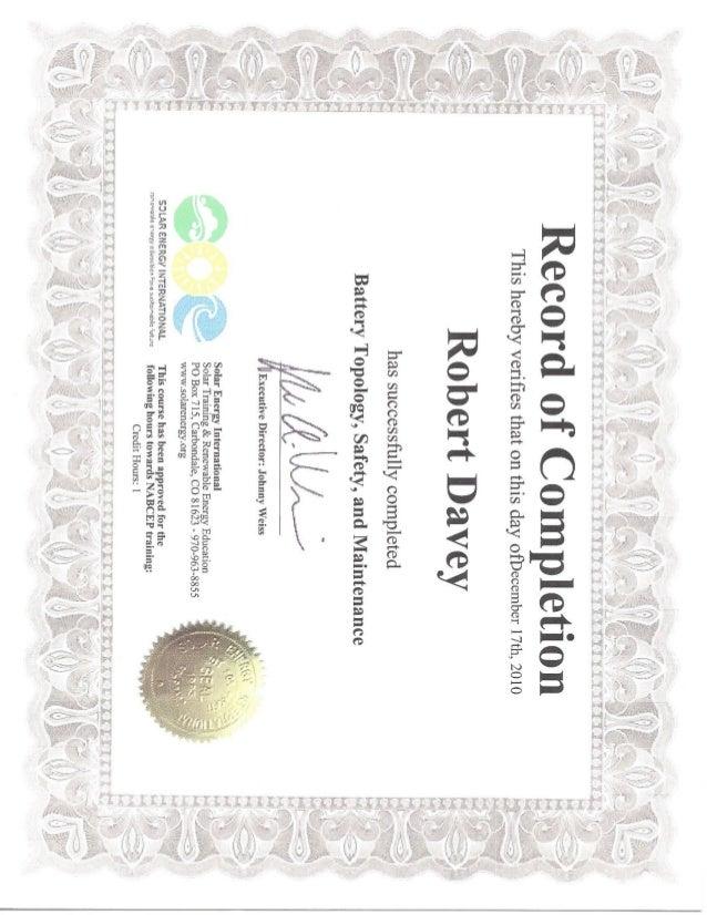 sei certificates battery training rdavey