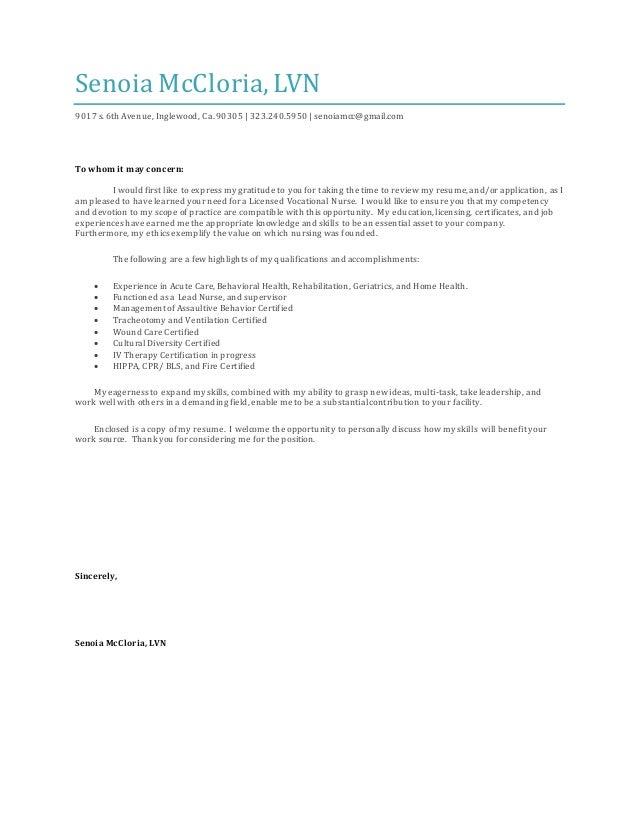 Senoia M. Cover Letter