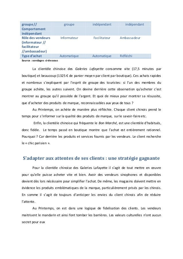groupe // Comportement indépendant groupe indépendant indépendant Rôle des vendeurs (informateur // facilitateur //ambassa...