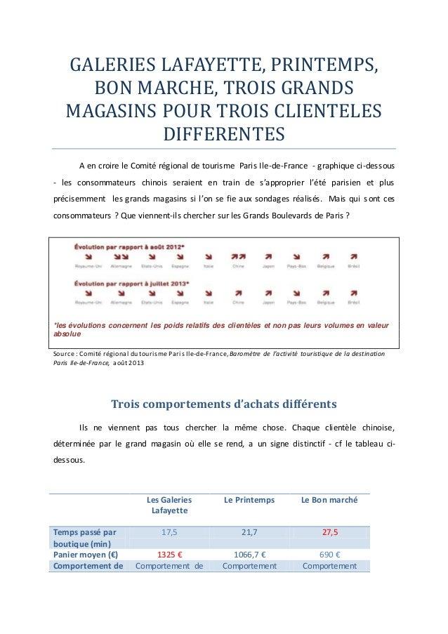 GALERIES LAFAYETTE, PRINTEMPS, BON MARCHE, TROIS GRANDS MAGASINS POUR TROIS CLIENTELES DIFFERENTES A en croire le Comité r...