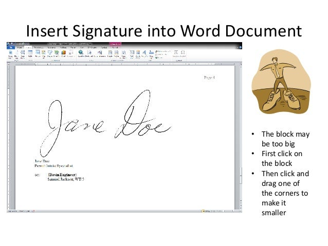 how to put signature in word