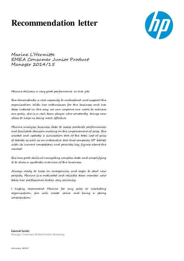 January 2015 Recommendation Letter Marine Lu0027Hermitte EMEA Consumer Junior  Product Manager 2014/15 ...