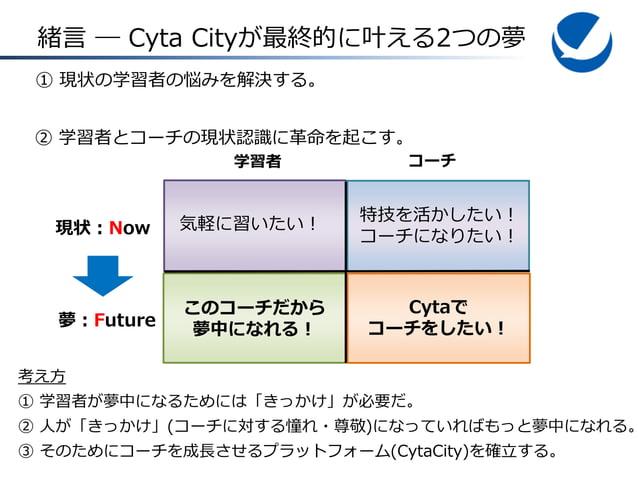 緒言 ― Cyta Cityが最終的に叶える2つの夢 ① 現状の学習者の悩みを解決する。 ② 学習者とコーチの現状認識に革命を起こす。 学習者  コーチ  現状:Now  気軽に習いたい!  特技を活かしたい! コーチになりたい!  夢:Fut...