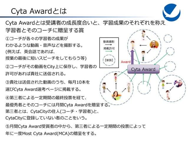 Cyta Awardとは Cyta Awardとは受講者の成長度合いと、学習成果のそれぞれを称え 学習者とそのコーチに贈呈する賞 ①コーチが各々の学習者の成果が わかるような動画・音声などを撮影する。 (例えば、英会話であれば、 授業の最後に短...