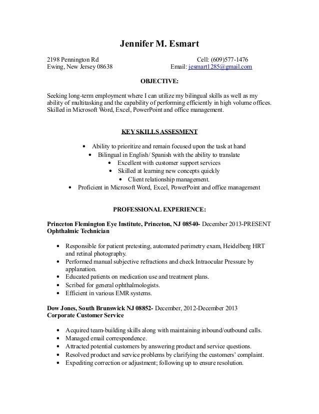 resume cover letter - Ophthalmic Technician Cover Letter