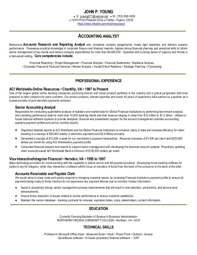 analyst resume john p young accounting