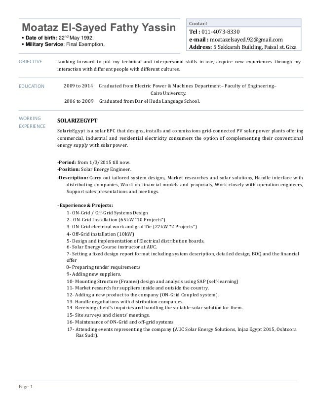 Old Fashioned Solar Energy Resume Mold - Administrative Officer ...