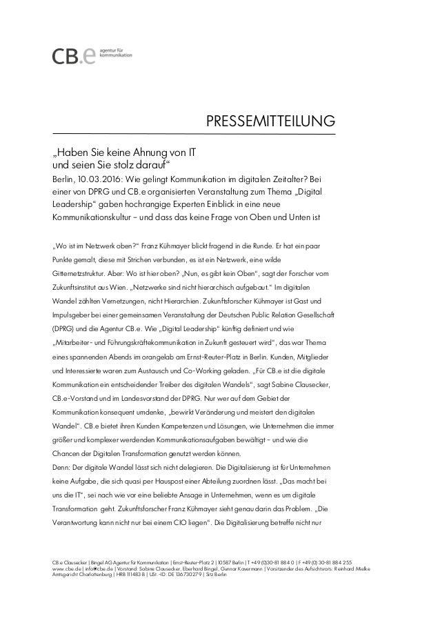 PRESSEMITTEILUNG CB.e Clausecker | Bingel AG Agentur für Kommunikation | Ernst-Reuter-Platz 2 | 10587 Berlin | T +49 (0)30...