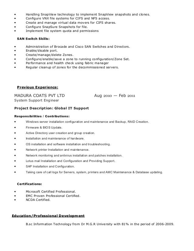 3 - Emc Implementation Engineer Sample Resume