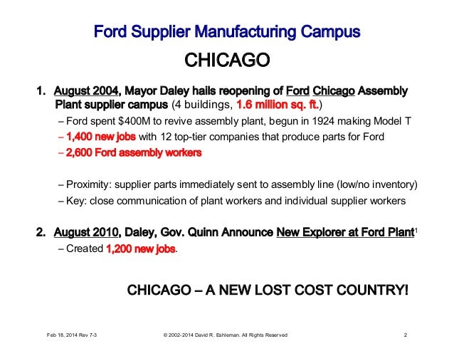 Ford Supplier Manufacturing Campus 1. August 2004, Mayor Daley hails reopening of Ford Chicago Assembly Plant supplier ca...